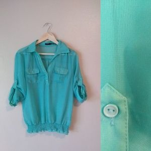 Poetry Sea Green Collared V Neck Blouse 3/4 Sleeve